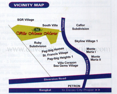 Villa Monte Maria Vicinity Map. Villa Monte Maria is a new low cost housing in Davao City located in Catalunan grande. This lowcost housing has affordable lots for sale in Davao, just beside Ruby Subdivision and a few meters away from HB1 (NCCC). Villa Monte Maria is a lowcost housing in a convenient location and accessible to public transportation.