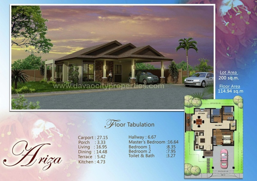 Amiya Residences Davao - Ariza house has 3 bedrooms and 1 toilet and bath. This beautiful Davao house and lot package is located at Amiya Resort Residences Puan, Davao City